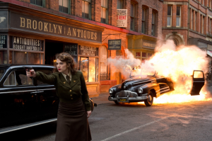 Photo from USA Today of Hayley Atwell filming on Dale Street in Manchester.